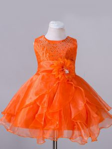 Orange Red Sleeveless Organza Zipper Little Girl Pageant Dress for Wedding Party