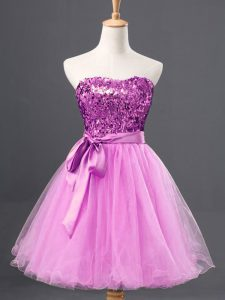 Simple Lilac Zipper Prom Gown Sequins Sleeveless Mini Length