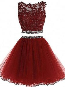 Mini Length Zipper Homecoming Dress Burgundy for Prom and Party and Sweet 16 with Beading and Lace and Appliques