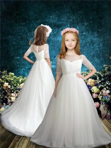 Decent White Tulle Zipper Scoop Half Sleeves Flower Girl Dress Brush Train Beading
