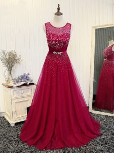 Fantastic Fuchsia Zipper Homecoming Dress Beading and Belt Sleeveless Brush Train