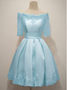 High Quality Light Blue A-line Off The Shoulder Half Sleeves Taffeta Knee Length Lace Up Lace Bridesmaid Dresses