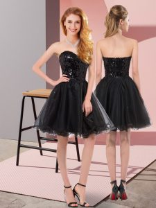 Dynamic Black A-line Sweetheart Sleeveless Tulle Mini Length Zipper Sequins Prom Evening Gown