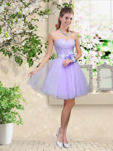 Sweetheart Sleeveless Wedding Party Dress Knee Length Lace and Belt Lilac Tulle