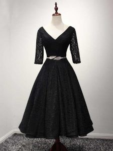 Beautiful Black A-line Lace V-neck Half Sleeves Lace and Belt Ankle Length Lace Up Prom Gown
