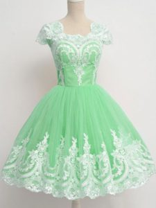Amazing Apple Green Zipper Square Lace Bridesmaid Dress Tulle Cap Sleeves