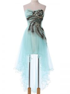 Eye-catching Aqua Blue Sleeveless Appliques High Low Club Wear