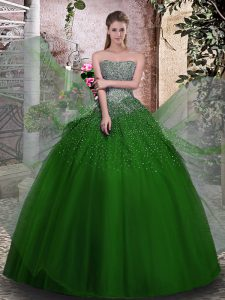 Green Sleeveless Tulle Lace Up Sweet 16 Dresses for Military Ball and Sweet 16 and Quinceanera