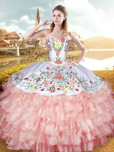 Stylish Organza and Taffeta Sweetheart Sleeveless Lace Up Embroidery and Ruffled Layers Vestidos de Quinceanera in Peach