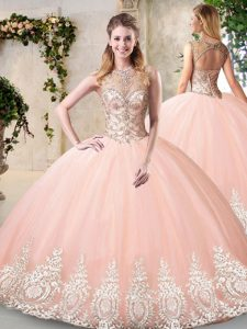 Floor Length Backless Sweet 16 Dress Peach for Prom and Party and Military Ball and Sweet 16 and Quinceanera with Beading and Appliques