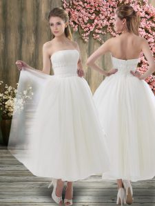 White Off The Shoulder Zipper Ruching Bridal Gown Sleeveless