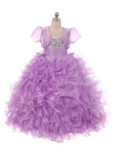 Luxurious Floor Length Lace Up Little Girls Pageant Dress Wholesale Eggplant Purple for Wedding Party with Beading and Ruffles