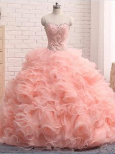 Exceptional Beading and Ruffles Sweet 16 Quinceanera Dress Pink Zipper Sleeveless Floor Length