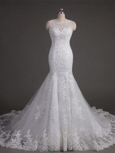Discount White Backless Scoop Lace Wedding Dress Tulle Sleeveless Brush Train
