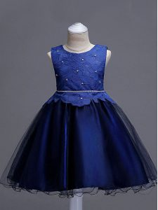 Attractive Navy Blue Scoop Neckline Lace Flower Girl Dress Sleeveless Zipper