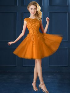 Gold Tulle Lace Up Damas Dress Cap Sleeves Knee Length Lace and Belt