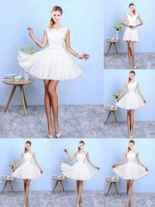 White Sleeveless Lace and Appliques Knee Length Quinceanera Dama Dress