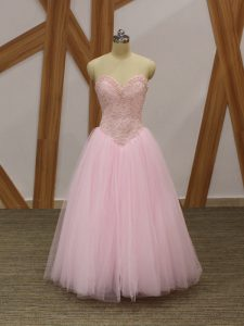 High Quality Sleeveless Tulle Floor Length Lace Up Prom Dresses in Baby Pink with Beading