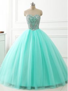 Modern Sleeveless Beading Lace Up Quinceanera Gowns