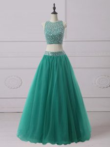 Designer Sleeveless Zipper Floor Length Beading Homecoming Dress
