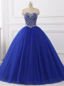 Royal Blue Ball Gowns Beading Quince Ball Gowns Lace Up Tulle Sleeveless Floor Length