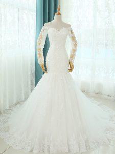 Lovely Sleeveless Court Train Lace Up Beading and Appliques Wedding Dress