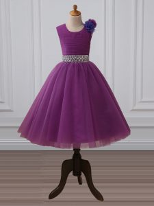 Beading and Hand Made Flower Juniors Party Dress Purple Zipper Sleeveless Tea Length