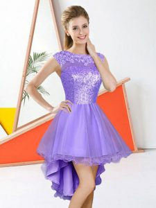 Lavender Backless Bateau Beading and Lace Bridesmaid Dresses Organza Sleeveless