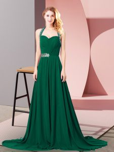 Dark Green Zipper Halter Top Beading and Ruching Evening Party Dresses Chiffon Sleeveless Brush Train