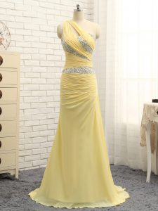 Cute Floor Length Column/Sheath Sleeveless Yellow Evening Dress Brush Train Zipper