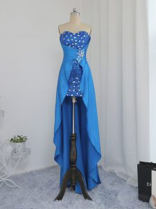 High Quality Sleeveless Zipper High Low Beading Prom Gown