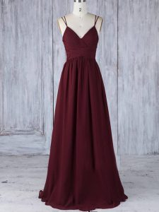 Burgundy Empire Straps Sleeveless Chiffon Floor Length Zipper Appliques Quinceanera Court Dresses