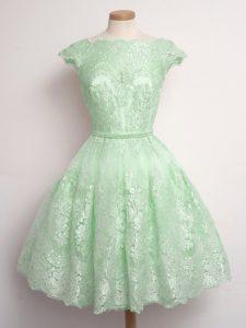 Flare Knee Length A-line Cap Sleeves Quinceanera Dama Dress Lace Up