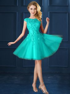 Turquoise Cap Sleeves Tulle Lace Up Quinceanera Dama Dress for Prom and Party