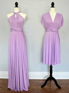 Halter Top Sleeveless Lace Up Court Dresses for Sweet 16 Lilac Chiffon