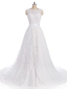 High End Sleeveless Lace Brush Train Clasp Handle Bridal Gown in White with Lace