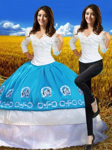 Cheap Off The Shoulder 3 4 Length Sleeve Sweet 16 Dress Floor Length Embroidery Blue And White Taffeta