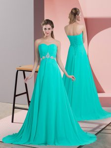 Spectacular Turquoise Empire Sweetheart Sleeveless Chiffon Brush Train Lace Up Beading Prom Dresses