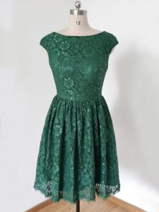 Superior Cap Sleeves Lace Knee Length Lace Up Dama Dress in Dark Green with Lace