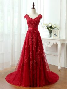 Tulle V-neck Cap Sleeves Brush Train Lace Up Lace and Appliques Red Carpet Prom Dress in Red