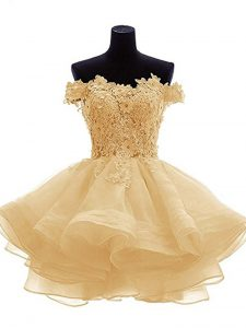 Classical Mini Length Gold Cocktail Dress Organza Sleeveless Lace and Appliques and Ruffles
