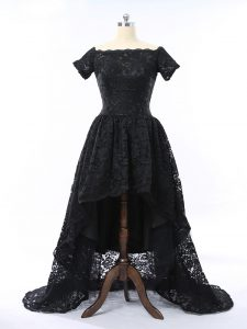 Artistic Black Scalloped Neckline Lace Prom Dresses Short Sleeves Zipper