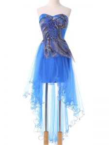 Elegant Blue Tulle Lace Up Club Wear Sleeveless High Low Appliques