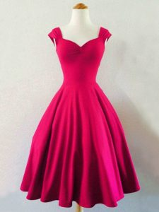 On Sale Knee Length Lace Up Quinceanera Court Dresses Hot Pink for Prom and Party and Wedding Party with Ruching