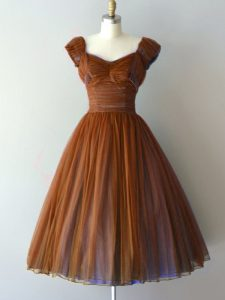 Brown Chiffon Zipper Dama Dress for Quinceanera Cap Sleeves Knee Length Ruching