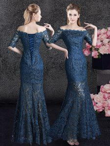 Sweet Mermaid Off the Shoulder Half Sleeves Floor Length Lace Lace Up Mother of Bride Dresses with Navy Blue