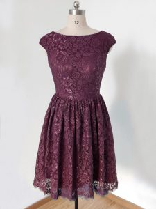Dark Purple Empire Scoop Cap Sleeves Lace Knee Length Lace Up Lace Dama Dress for Quinceanera
