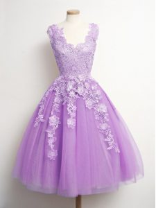 Beautiful A-line Quinceanera Court of Honor Dress Lilac V-neck Tulle Sleeveless Knee Length Lace Up