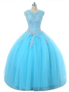 Extravagant Aqua Blue Ball Gowns Tulle Scoop Sleeveless Appliques Floor Length Lace Up Sweet 16 Dress