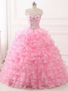Hot Sale Baby Pink Organza Lace Up Sweetheart Sleeveless 15th Birthday Dress Sweep Train Beading and Ruffled Layers